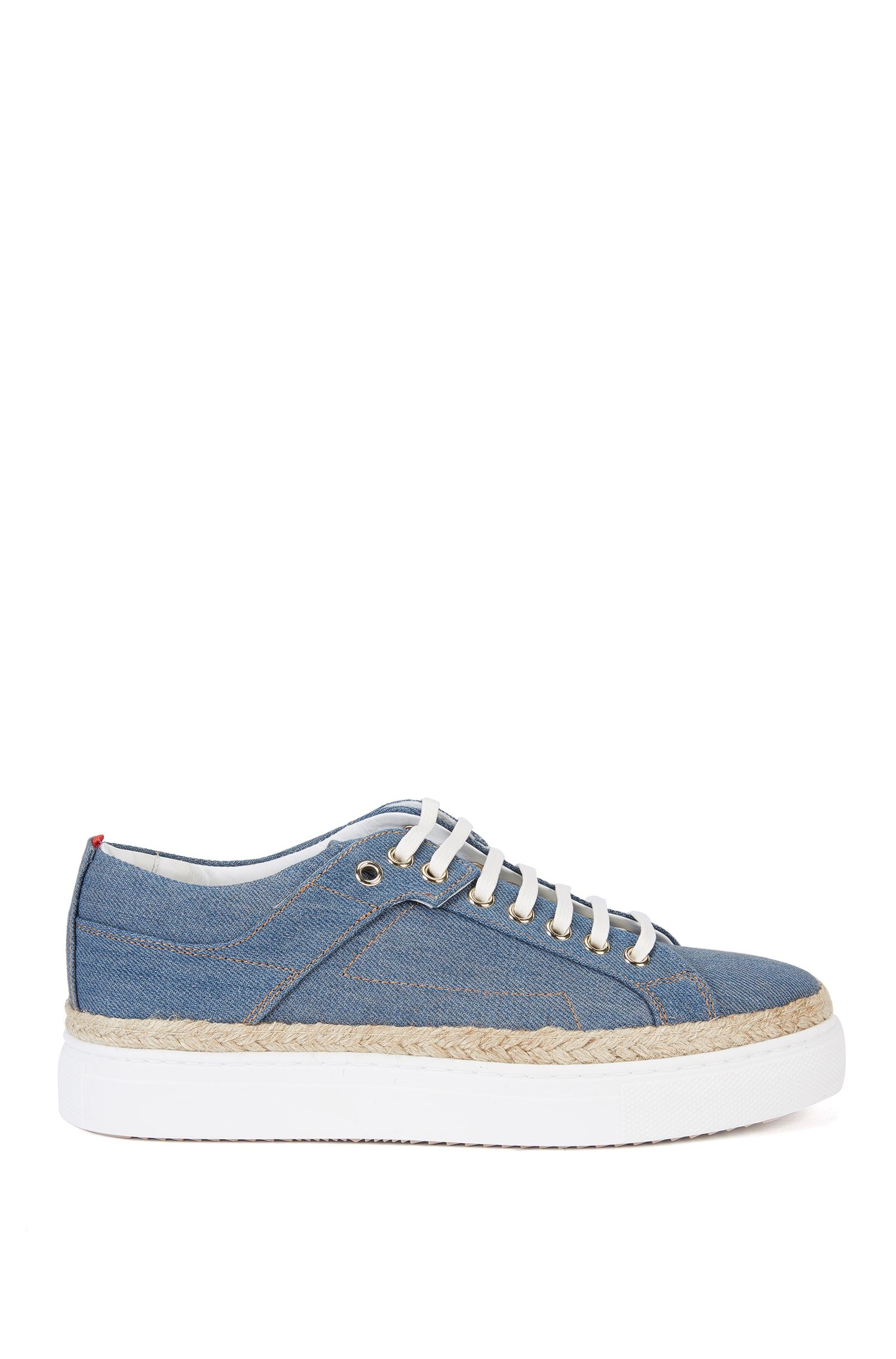 Sneakers effetto denim con plateau: 'Connie-D'