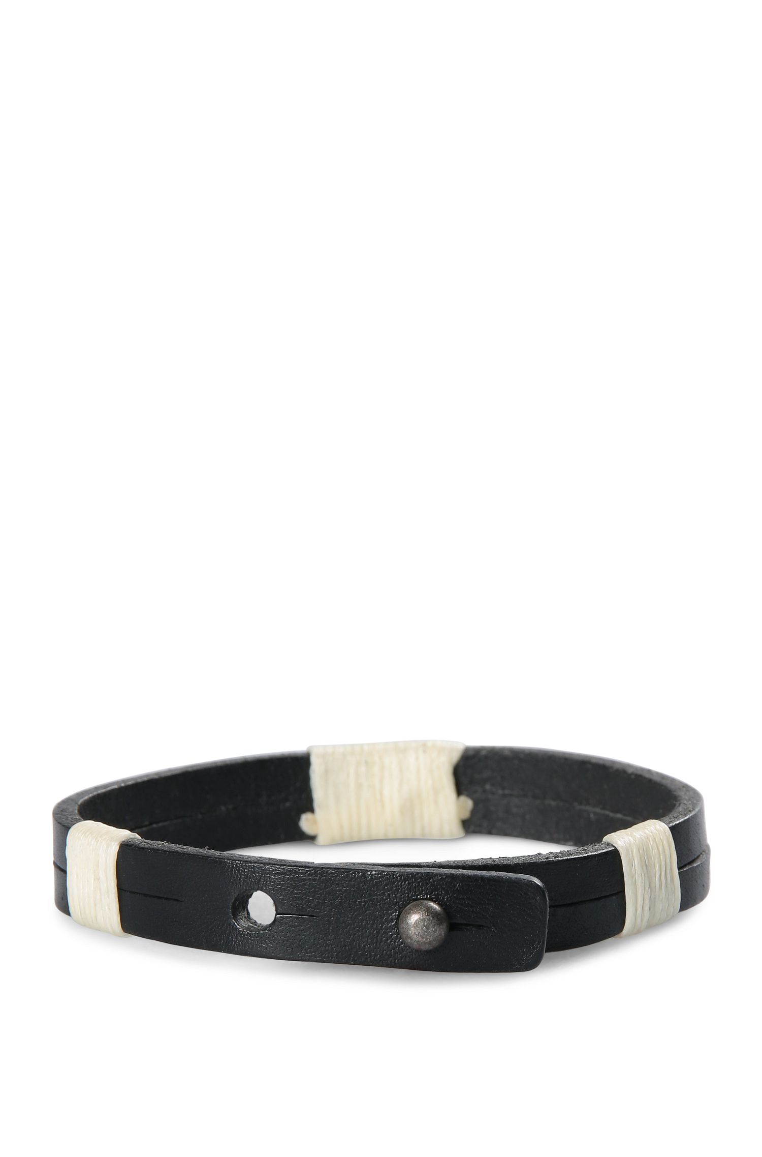 Narrow leather bracelet with wrap details: 'Merrill'