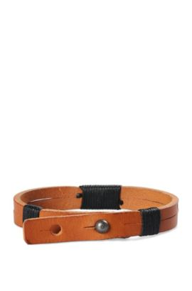Narrow leather bracelet with wrap details: 'Merrill', Light Brown