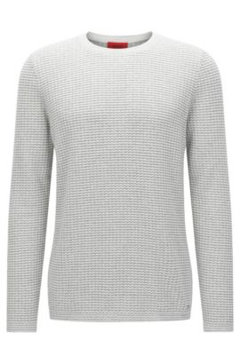 Oversized-fit sweater in textured cotton: 'Stanch', White