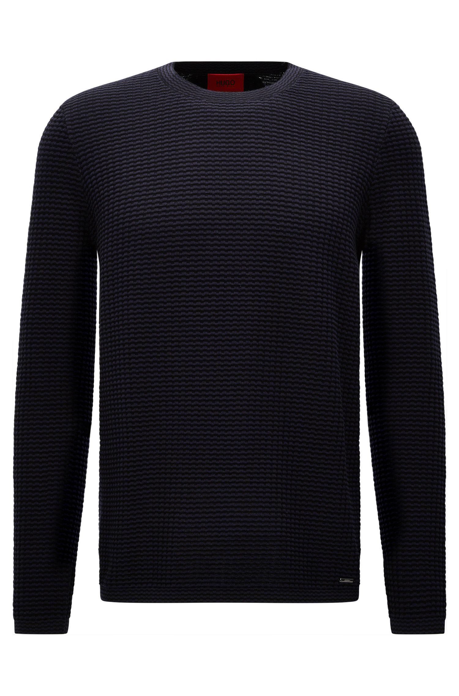 Oversized-fit sweater in textured cotton: 'Stanch'