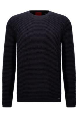 Oversized-fit sweater in textured cotton: 'Stanch', Dark Blue