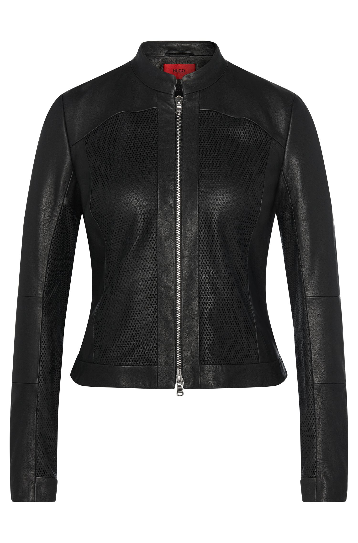 Leather jacket with perforated inserts: 'Leandas'