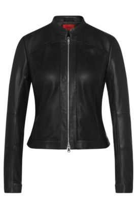 Leather jacket with perforated inserts: 'Leandas', Black