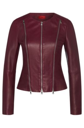 Fitted leather jacket with zip details: 'Lalici', Purple