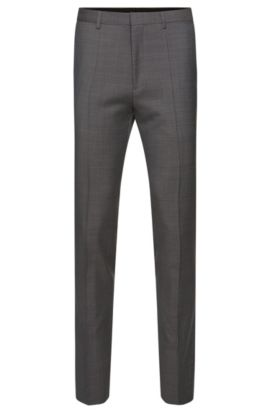 Extra slim-fit trousers in finely textured new wool: 'HerioS', Dark Grey