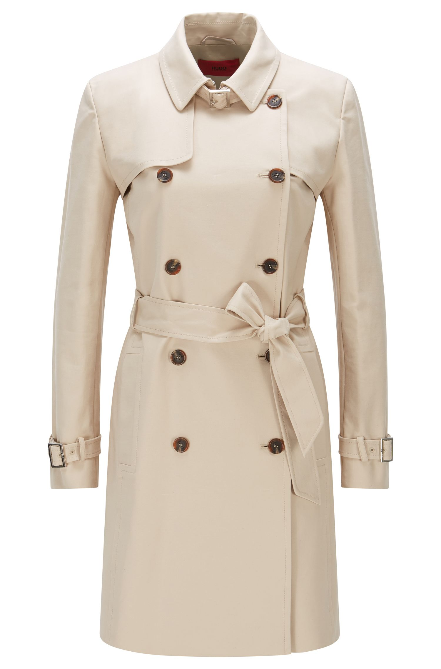 Regular-fit trench coat in stretch cotton: 'Makari-1'
