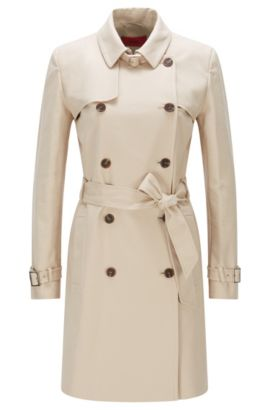 Trench Regular Fit en coton stretch : « Makari-1 », Beige