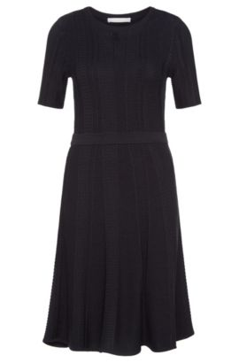 Fitted knitted dress in a viscose blend with cotton: 'Frizana', Open Blue