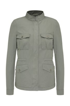 Cotton outdoor jacket in army style: 'Omillia1-W', Khaki
