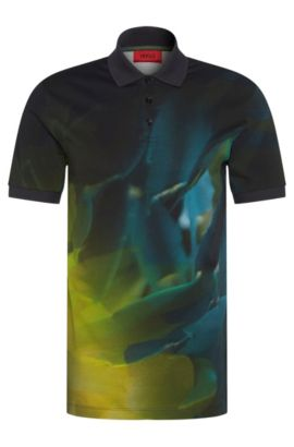Polo slim fit in cotone con stampa astratta all-over: 'Dunnyvale', Blu