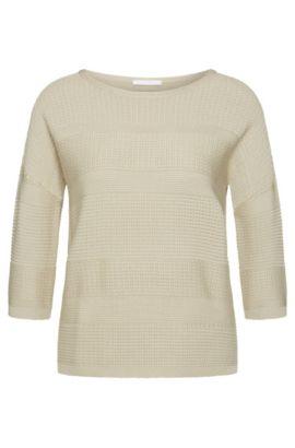 Jersey de corte recto en mezcla de viscosa con algodón: 'Fiammetta', Beige claro