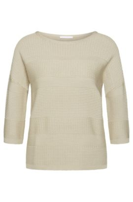 Straight-cut sweater in viscose blend with cotton: 'Fiammetta', Light Beige