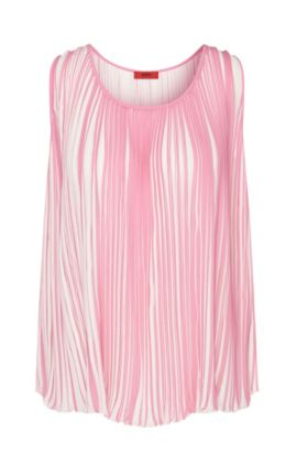 Striped pleated top: 'Cendis-3', Pink