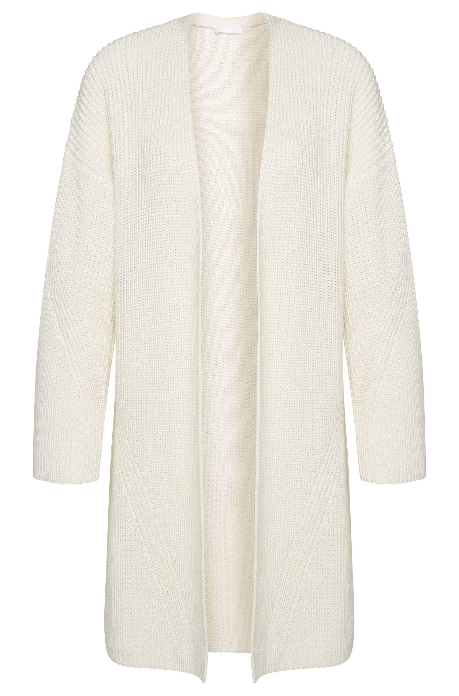 Veste en maille de coton mélangé à teneur en soie et cachemire, de coupe ouverte: «Firenza»