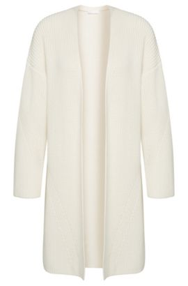 Open cardigan in a cotton blend with silk and cashmere: 'Firenza', Natural