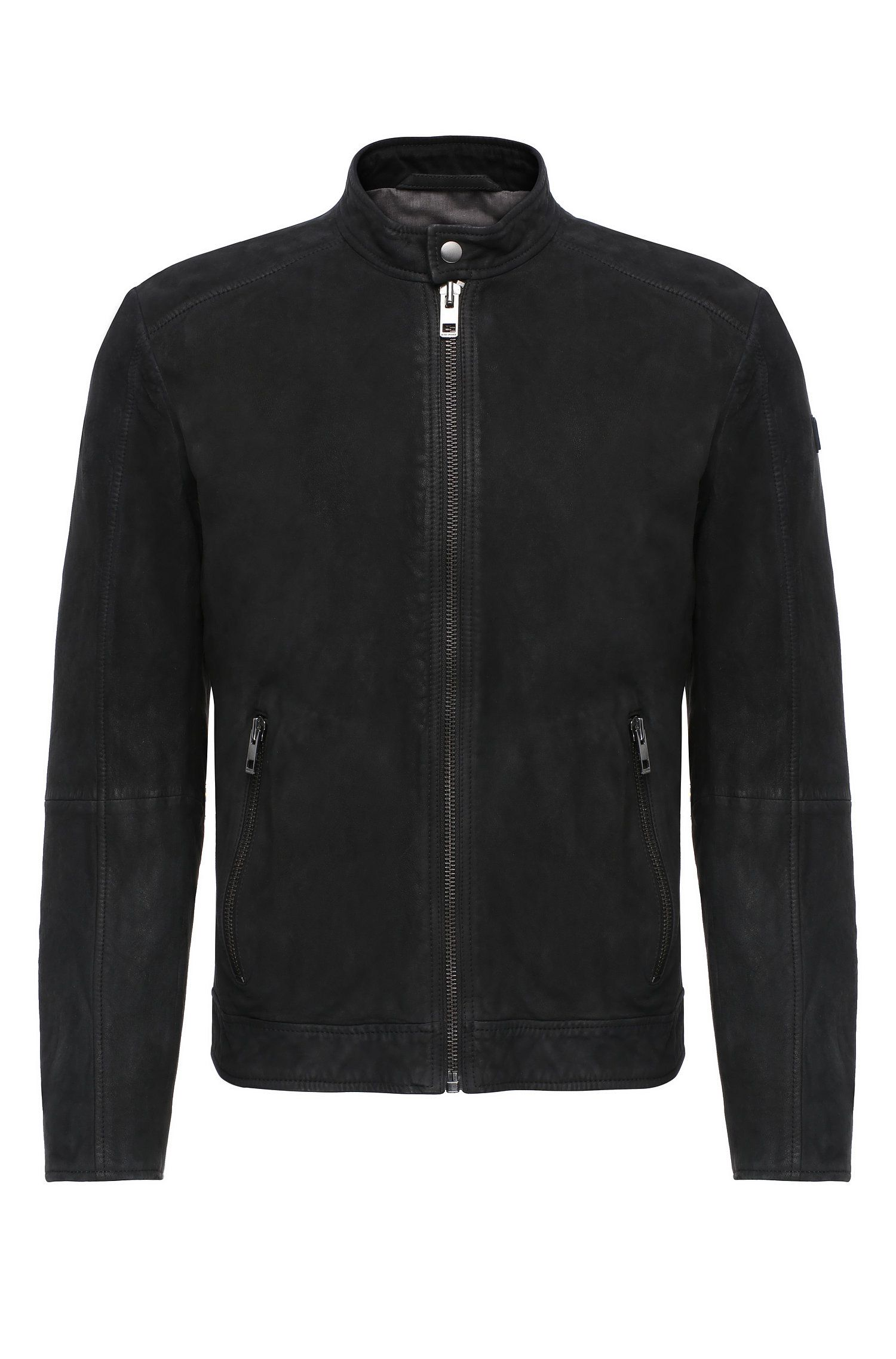 Biker jacket in leather: 'Jonate'
