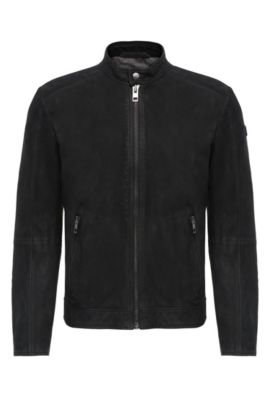 Biker jacket in leather: 'Jonate', Black