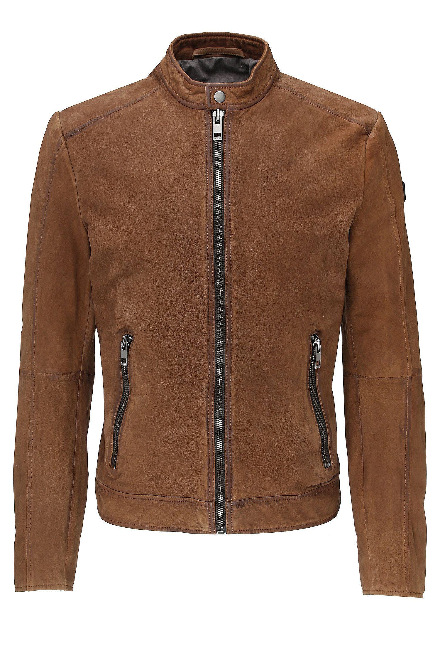 Biker jacket in leather: 'Jonate'