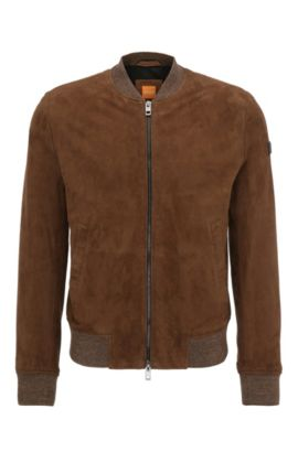 Slim-fit leather jacket in bomber jacket style with knitted cuffs: 'Jacket', Khaki