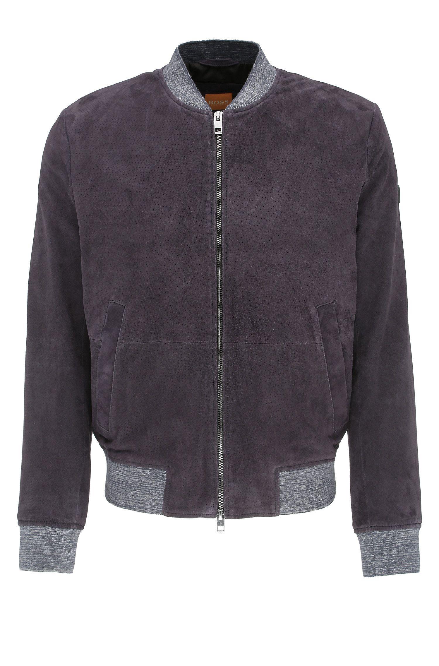 Giubbotto in pelle slim fit in stile blouson con inserti in maglia: 'Jacket'