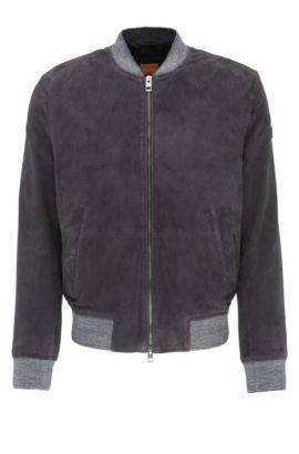 Slim-fit leather jacket in bomber jacket style with knitted cuffs: 'Jacket', Dark Blue