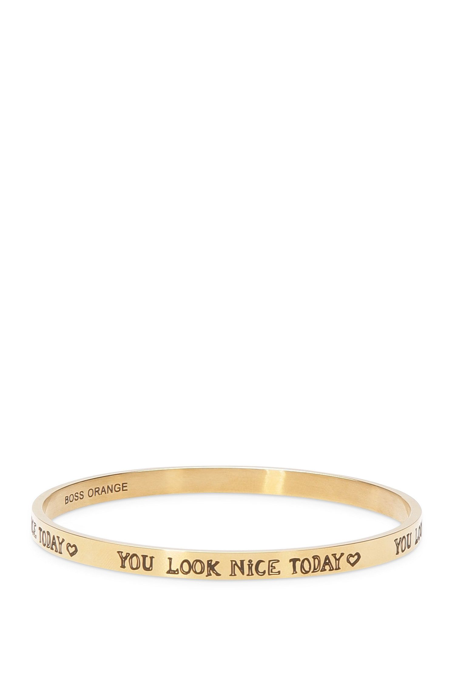 Stainless steel bangle with engraved lettering: 'Ming'