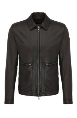 Slim-fit leather blouson with wing collar: 'Jacent', Dark Brown