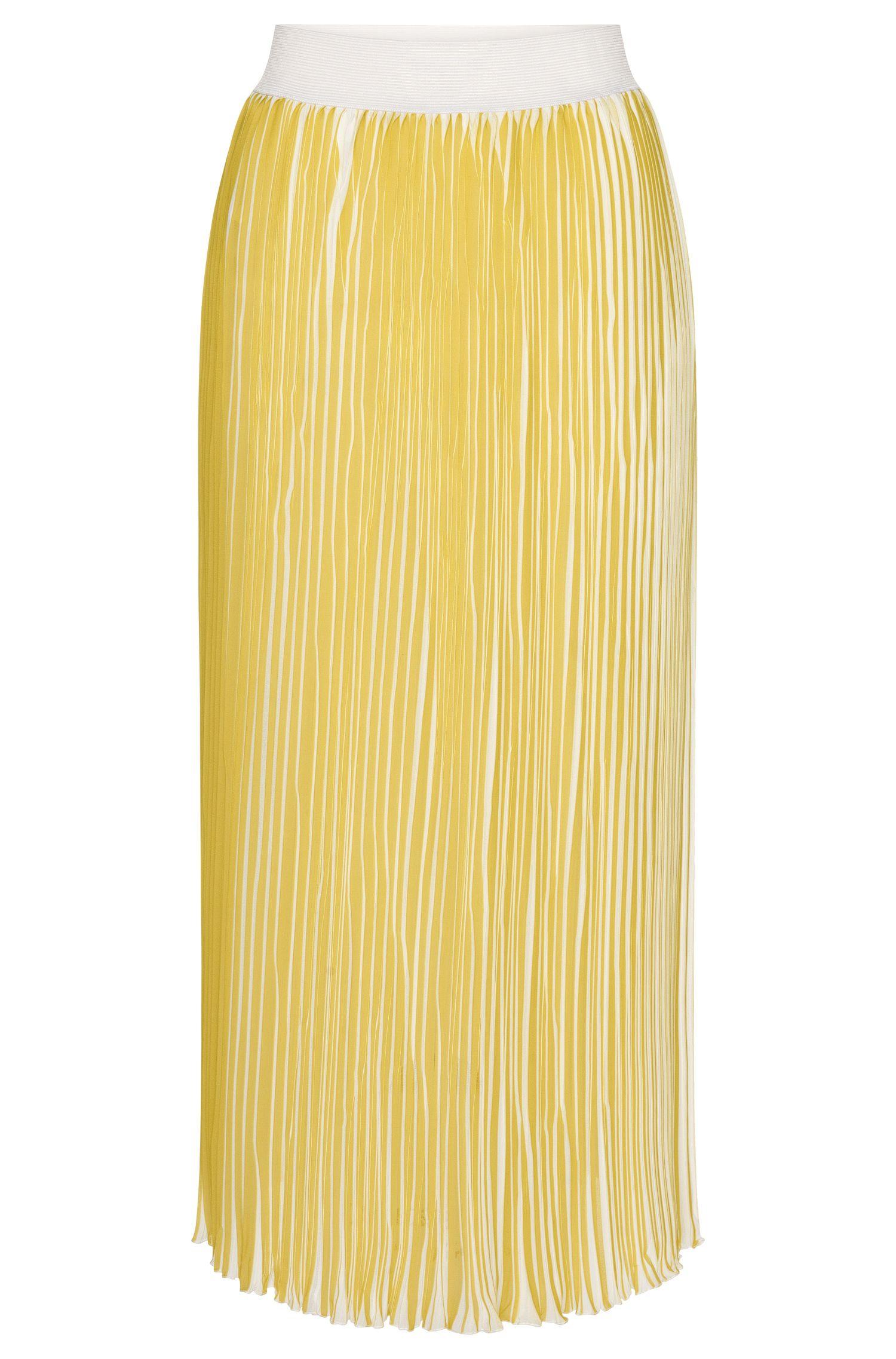 Falda plisada de talle alto con corte midi: 'Rulde-1'