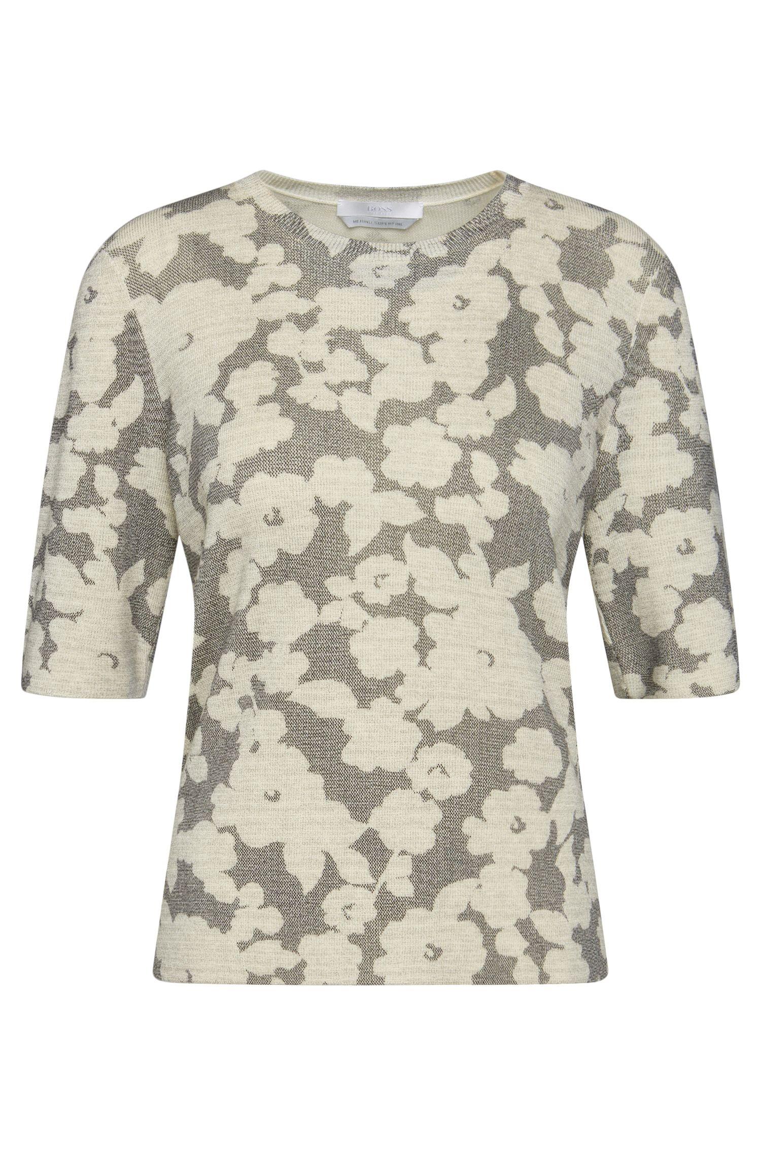 Maglione a mezze maniche in lana vergine con motivo floreale: 'Faluna'