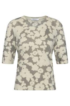 Jersey con manga a medio brazo en lana virgen con estampado de flores: 'Faluna', Fantasía