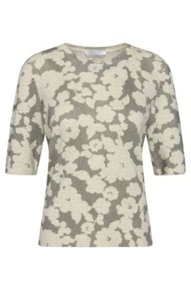 Halbarm-Pullover aus Schurwolle mit Blumenmuster: 'Faluna', Gemustert