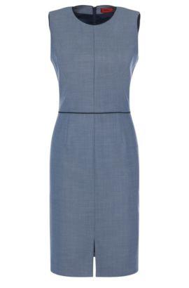 Vestido tubo con estampado elegante en lana virgen elástica: 'Klenni-1', Azul oscuro