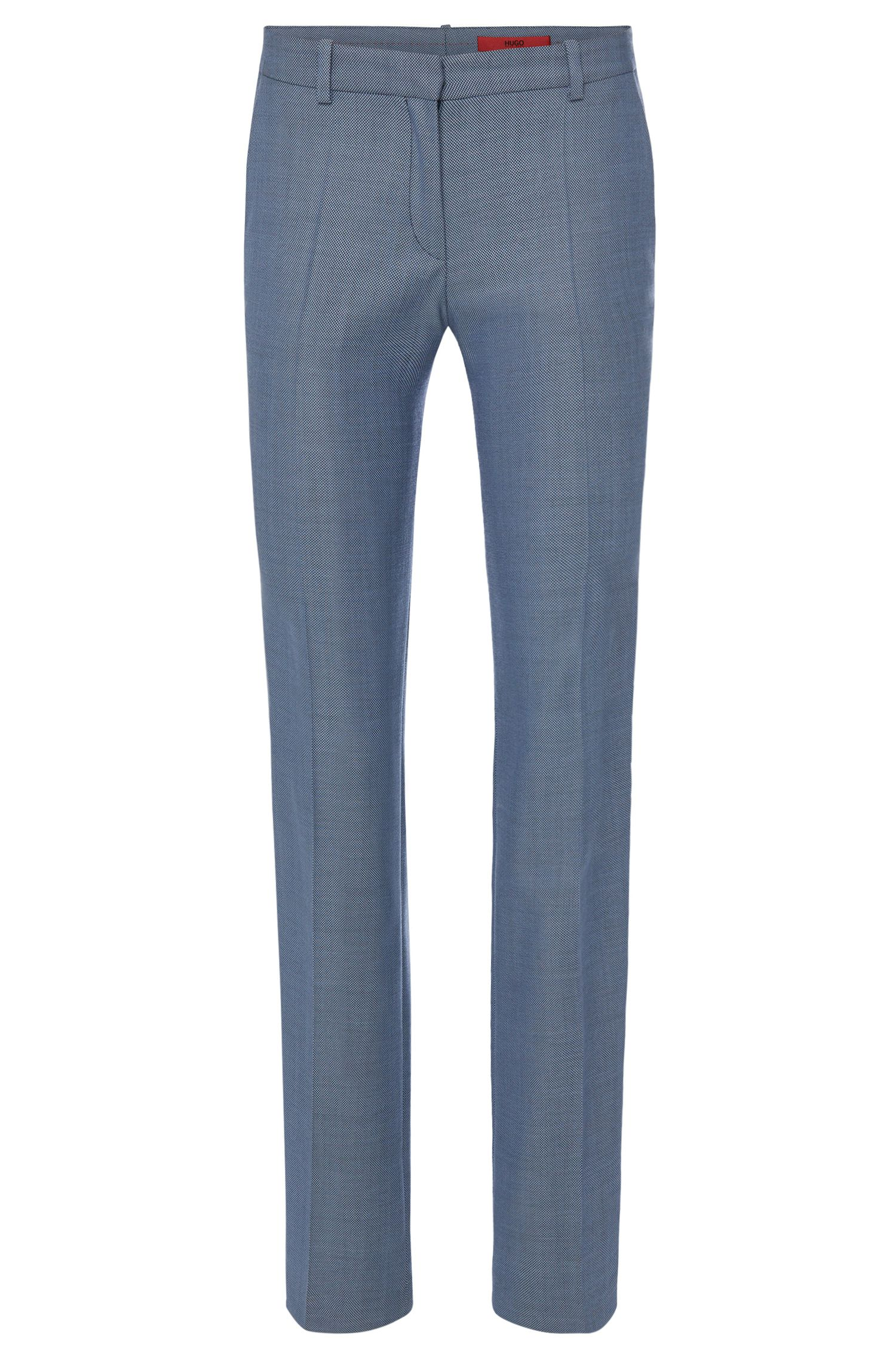 Finely patterned trousers with pressed creases in stretch new wool: 'Hinass-5'
