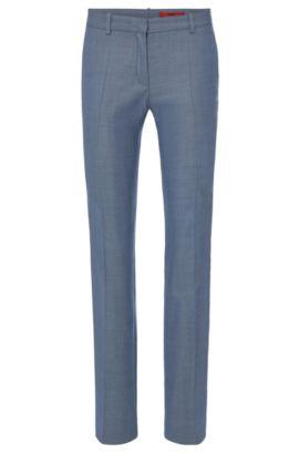 Fein gemusterte Bügelfaltenhose aus Stretch-Schurwolle: 'Hinass-5', Hellblau