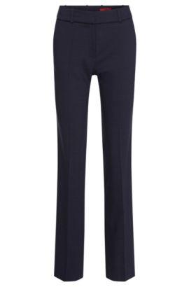 Pantalón regular fit con raya y lunares discretos en lana virgen elástica: 'Haluny', Celeste