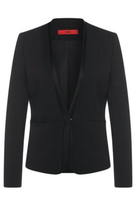 Fitted blazer in stretch new wool: 'Atricia', Black