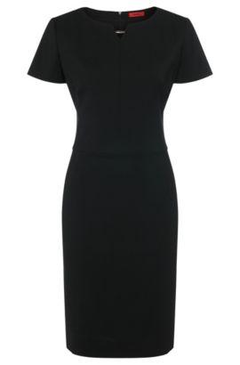 Vestido tubo en lana virgen elástica con un detalle metálico: 'Kikos-1', Negro