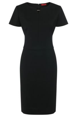 Nauwsluitende jurk van stretchscheerwol met metallic detail:  'Kikos-1', Zwart
