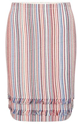 Striped skirt in cotton blend with short fringes: 'Fabienne', Patterned