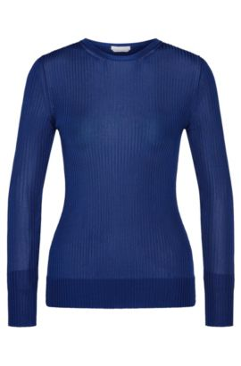 Ribbed sweater in viscose: 'Florrie', Blue