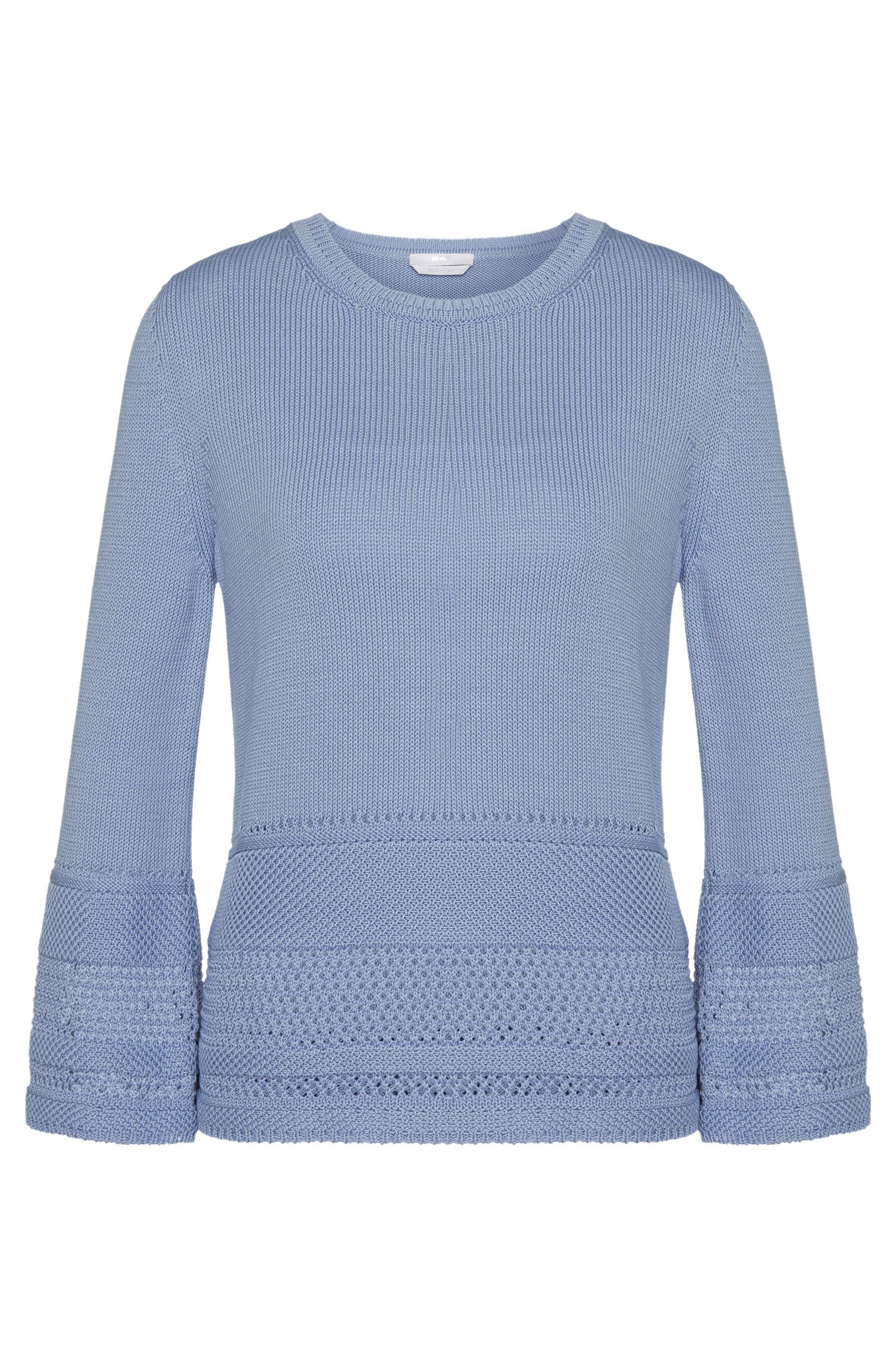 Sweater in cotton with a perforated pattern: 'Fanchoni'