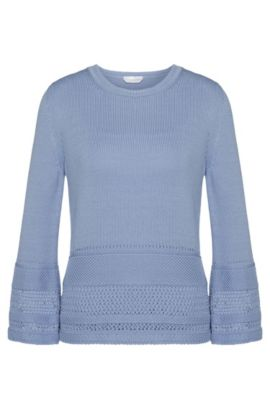 Sweater in cotton with a perforated pattern: 'Fanchoni', Turquoise