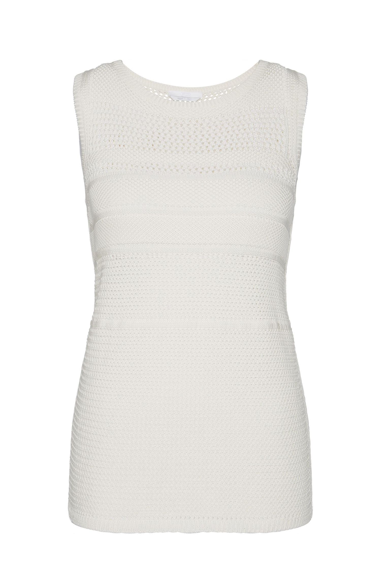 Knitted top in cotton with a perforated pattern: 'Faride'