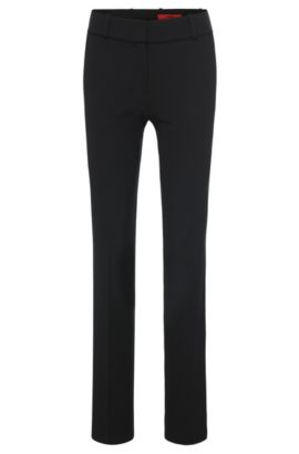 Textured trousers with pressed creases: 'Haluny', Black