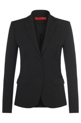 Textured blazer in stretchy fabric blend: 'Amiesa-2', Black