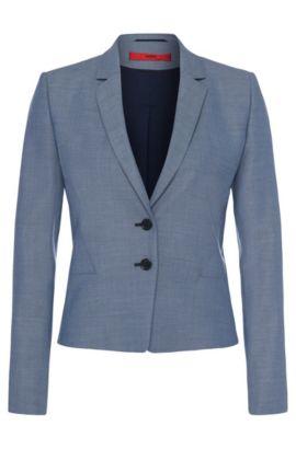 Blazer a disegni delicati in pura lana vergine: 'Aikes', Blue Scuro