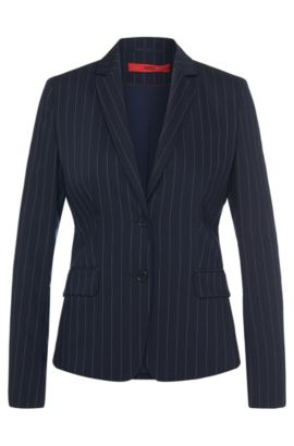 Finely striped blazer in stretch new wool: 'Ainett', Open Blue