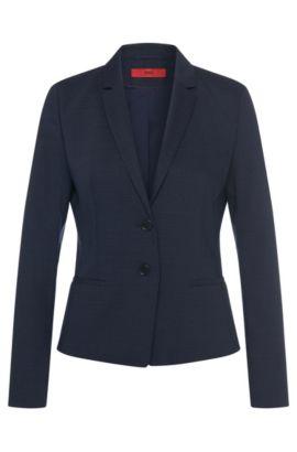 Blazer en laine vierge stretch à motif filigrane: «Afrona», Bleu vif