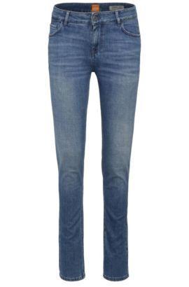 Slim-fit jeans in stretch-cotton blend: 'Orange J70', Dark Blue